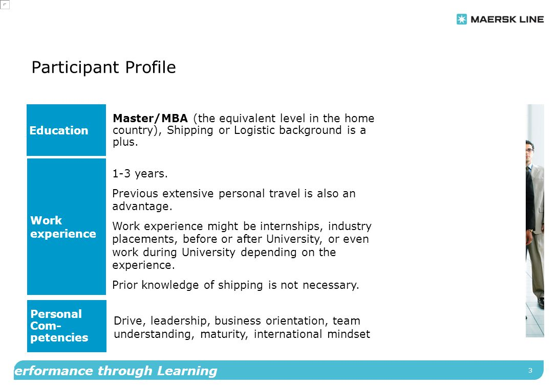 3 Performance through Learning Participant Profile Education Master/MBA (the equivalent level in the home country), Shipping or Logistic background is