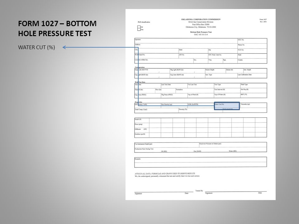 FORM 1027 – BOTTOM HOLE PRESSURE TEST WATER CUT (%)