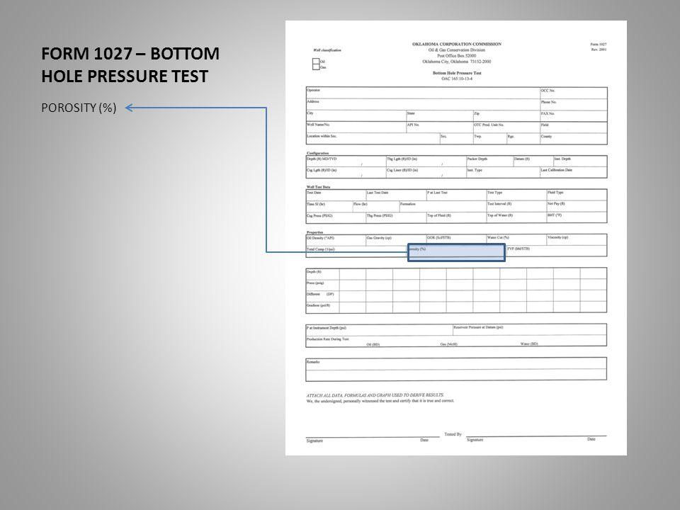FORM 1027 – BOTTOM HOLE PRESSURE TEST POROSITY (%)