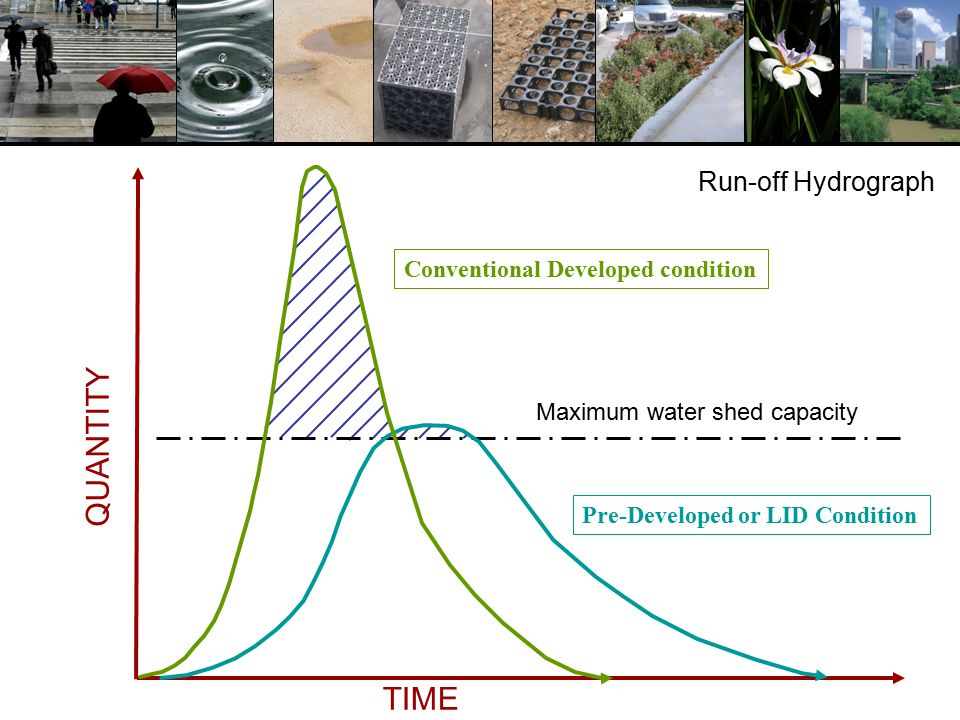 QUANTITY TIME Conventional Developed condition Pre-Developed or LID Condition Maximum water shed capacity Run-off Hydrograph