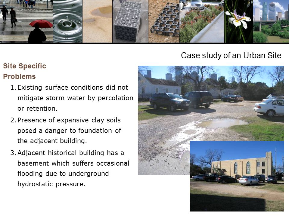 Case study of an Urban Site Site Specific Problems 1.Existing surface conditions did not mitigate storm water by percolation or retention.