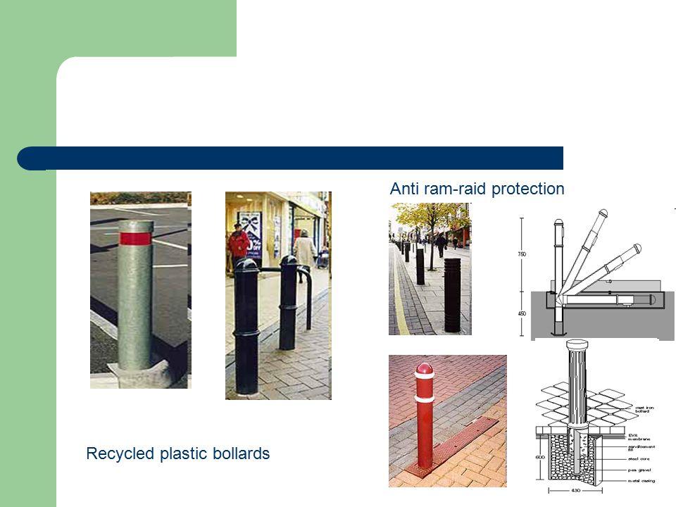 Recycled plastic bollards Anti ram-raid protection