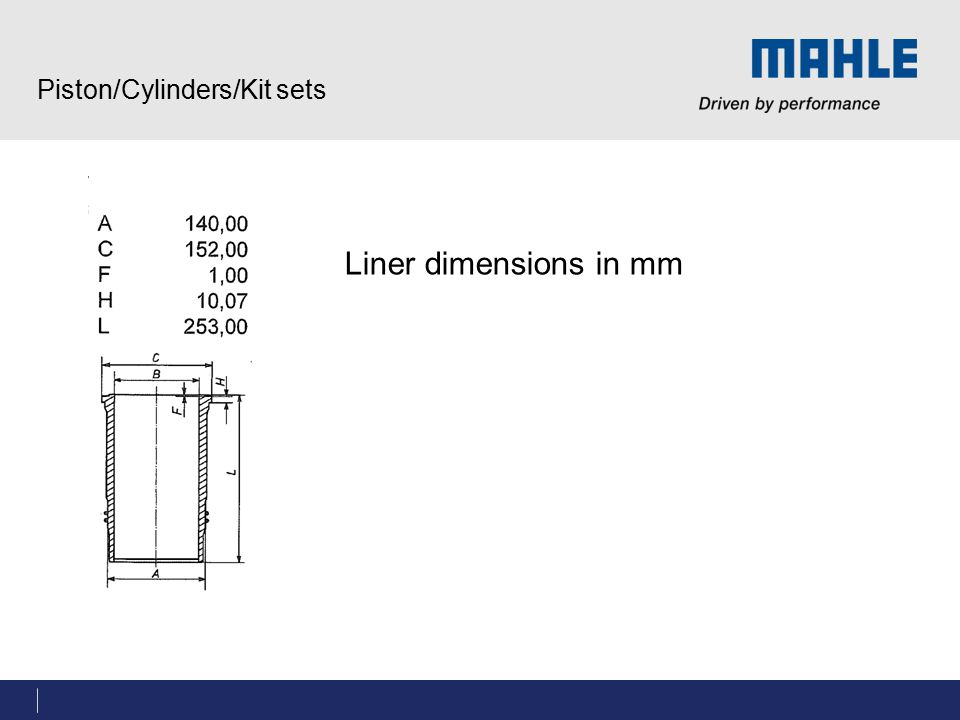Piston/Cylinders/Kit sets Liner dimensions in mm