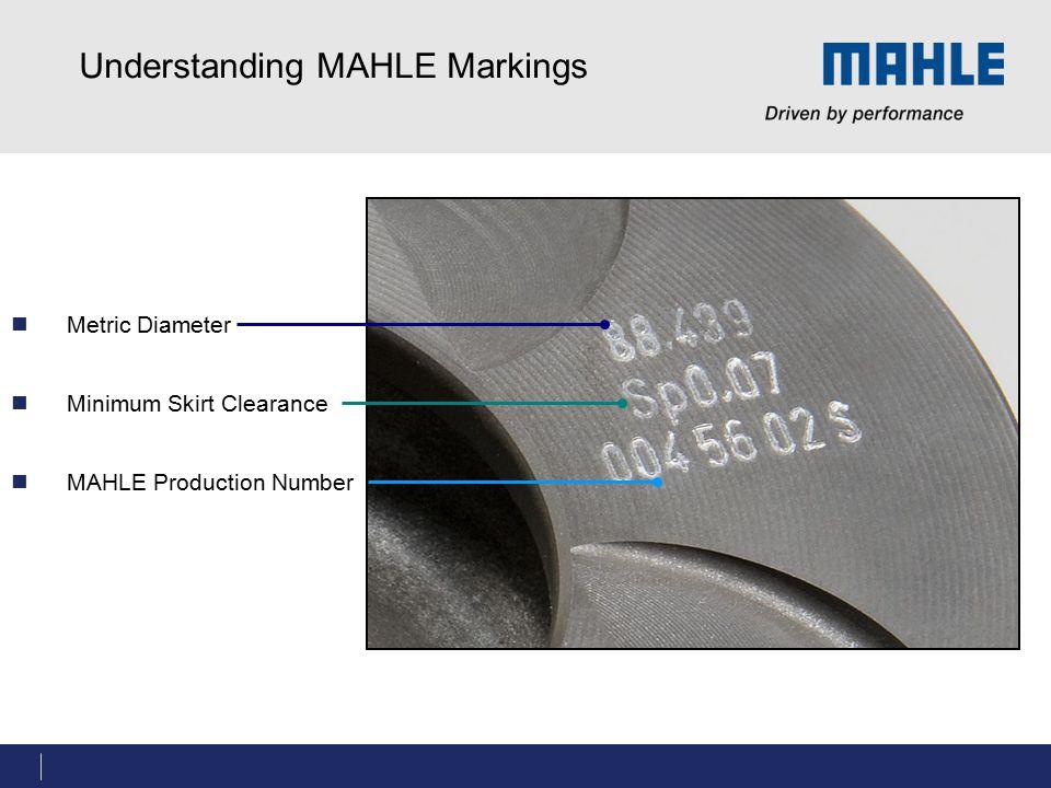 Understanding MAHLE Markings Metric Diameter Minimum Skirt Clearance MAHLE Production Number