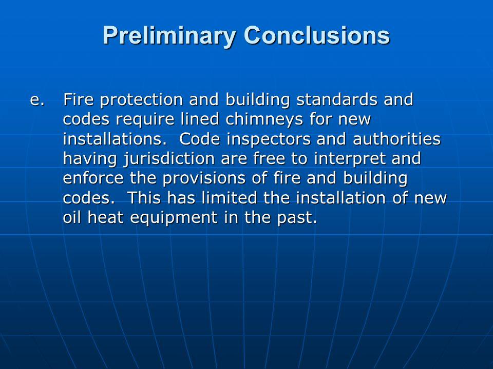 Preliminary Conclusions e.