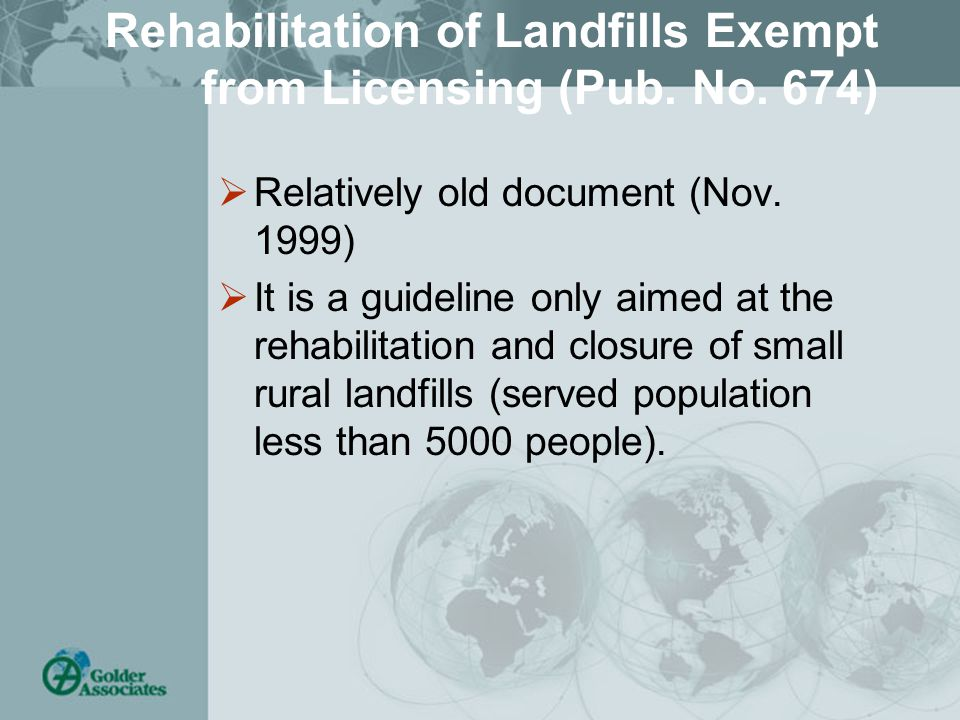 Rehabilitation of Landfills Exempt from Licensing (Pub.