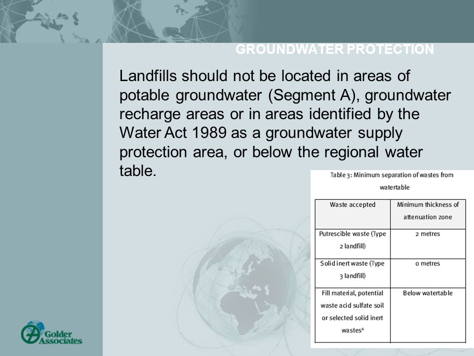 GROUNDWATER PROTECTION Landfills should not be located in areas of potable groundwater (Segment A), groundwater recharge areas or in areas identified