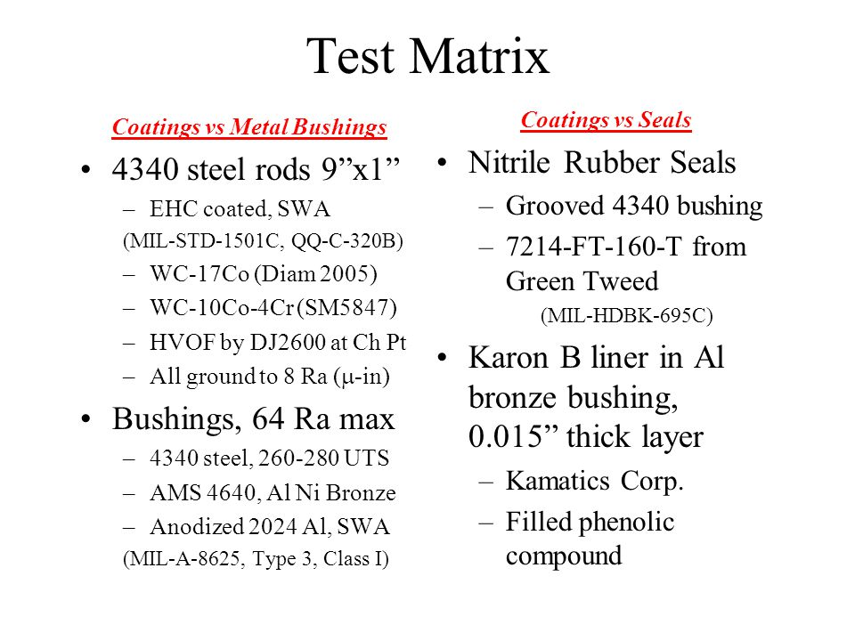 Test Matrix (cont.)