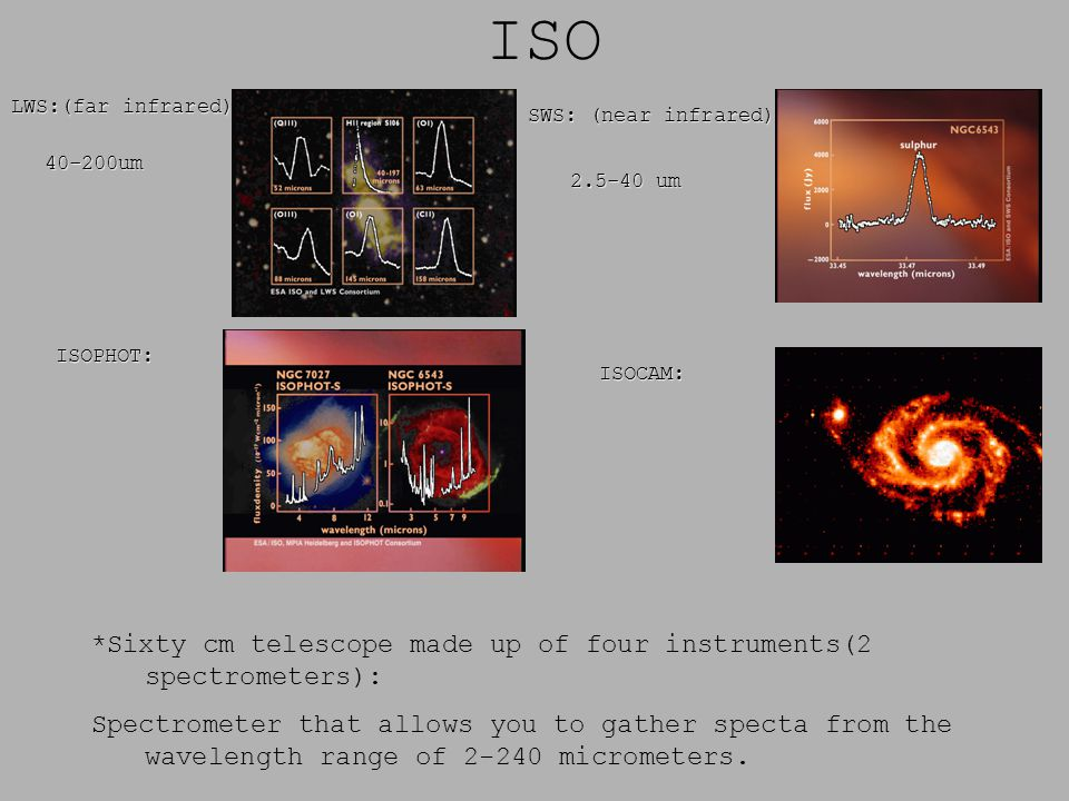 ISO *Sixty cm telescope made up of four instruments(2 spectrometers): Spectrometer that allows you to gather specta from the wavelength range of 2-240 micrometers.