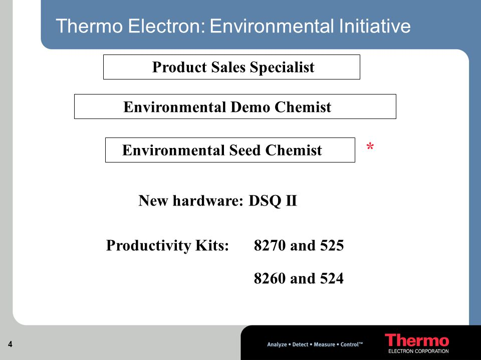 4 Thermo Electron: Environmental Initiative Product Sales Specialist Environmental Demo Chemist Environmental Seed Chemist * New hardware: DSQ II Productivity Kits:8270 and 525 8260 and 524
