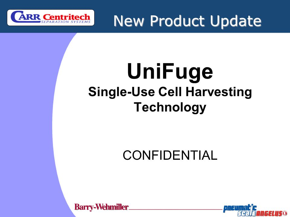 UniFuge ® Supernatant Separation Results CONFIDENTIAL INFORMATION DISCLOSURE FOR 'customer' The information contained in this document contains privileged and confidential information.