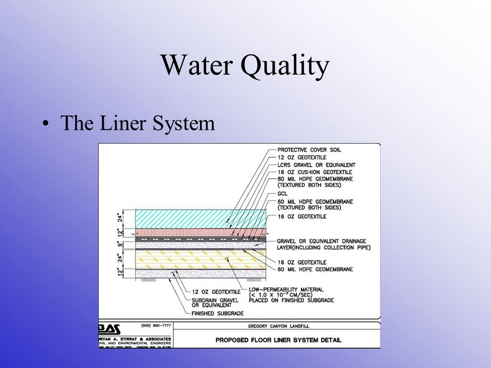 Water Quality The Liner System