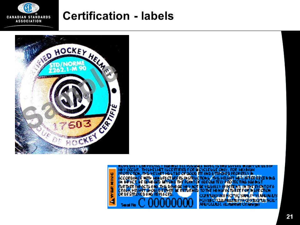 21 Certification - labels