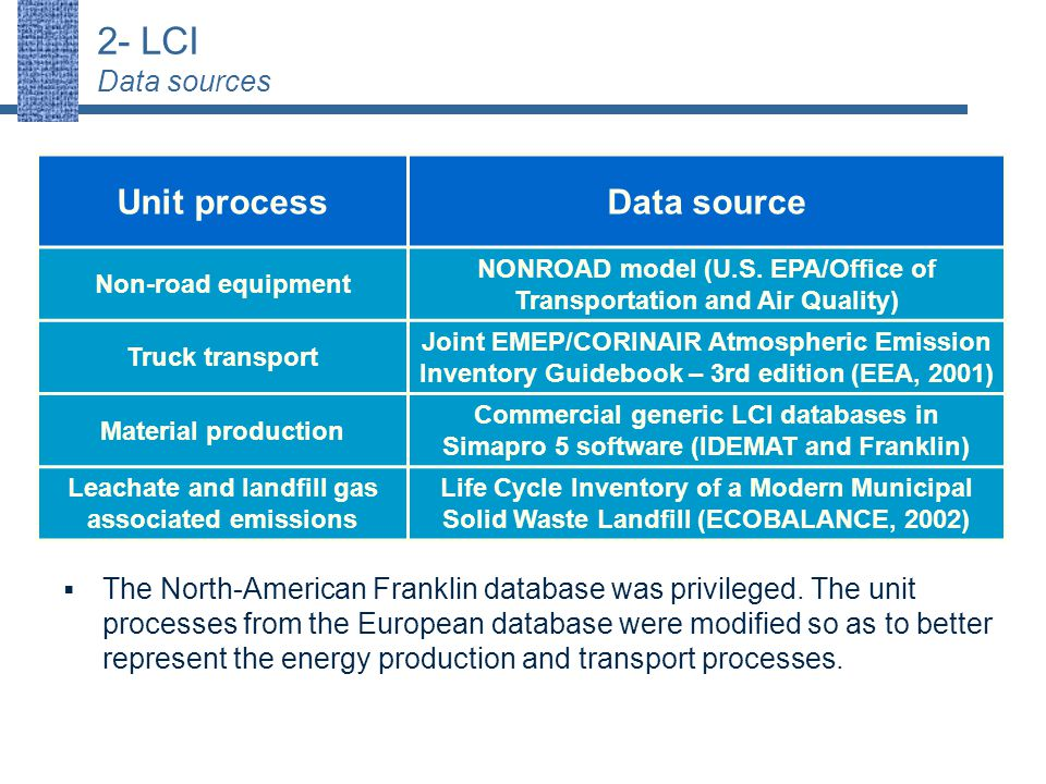 2- LCI Data sources Unit processData source Non-road equipment NONROAD model (U.S.