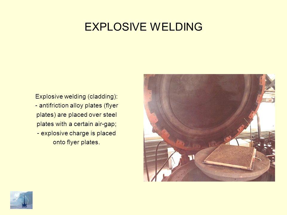 EXPLOSIVE WELDING Explosive welding (cladding): bimetal plates after explosion.