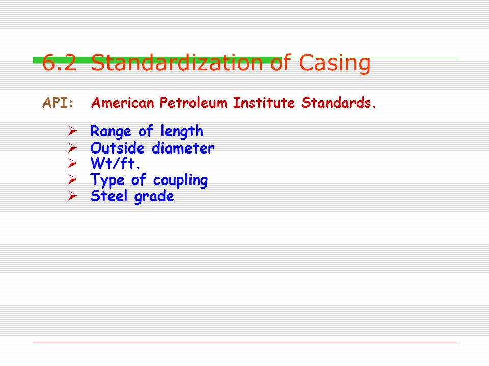 6.2Standardization of Casing API:American Petroleum Institute Standards.  Range of length  Outside diameter  Wt/ft.  Type of coupling  Steel grad