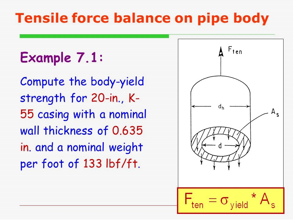 Tensile force balance on pipe body Example 7.1: Compute the body-yield strength for 20-in., K- 55 casing with a nominal wall thickness of 0.635 in.