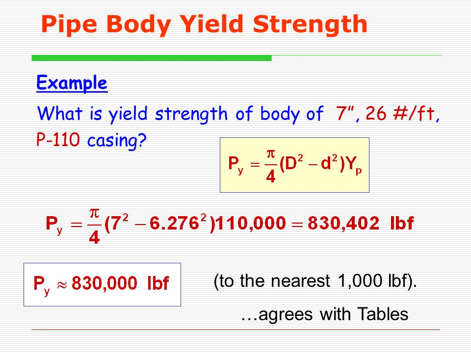 """Pipe Body Yield Strength Example What is yield strength of body of 7"""", 26 #/ft, P-110 casing? (to the nearest 1,000 lbf). …agrees with Tables"""