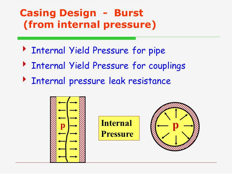 Casing Design - Burst (from internal pressure)  Internal Yield Pressure for pipe  Internal Yield Pressure for couplings  Internal pressure leak resistance p p Internal Pressure