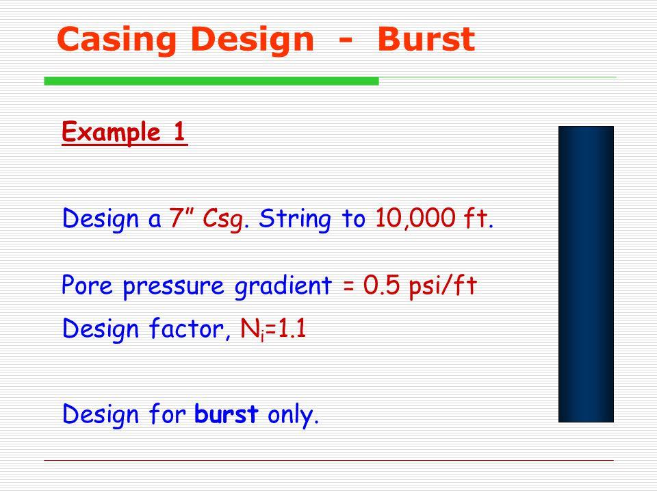 "Casing Design - Burst Example 1 Design a 7"" Csg. String to 10,000 ft. Pore pressure gradient = 0.5 psi/ft Design factor, N i =1.1 Design for burst onl"