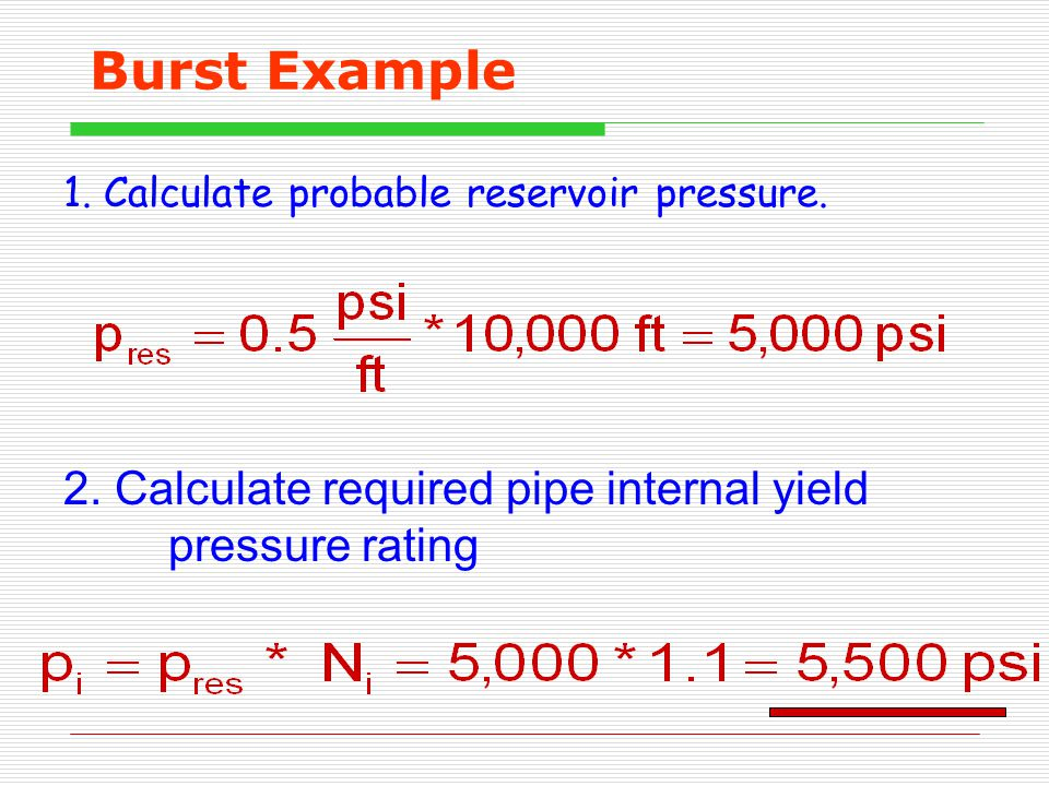 Burst Example 1.Calculate probable reservoir pressure.