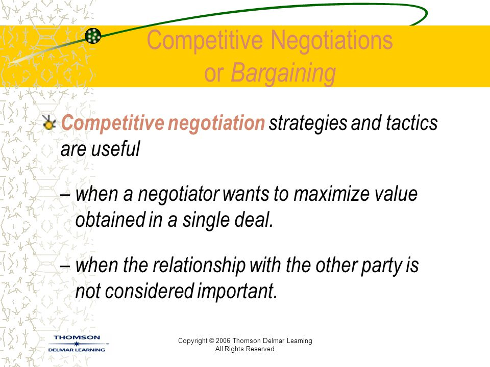 Copyright © 2006 Thomson Delmar Learning All Rights Reserved Competitive Negotiations or Bargaining Competitive negotiation strategies and tactics are