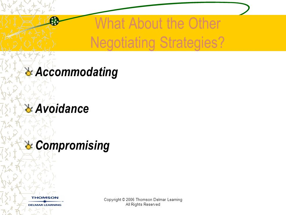 Copyright © 2006 Thomson Delmar Learning All Rights Reserved What About the Other Negotiating Strategies? Accommodating Avoidance Compromising