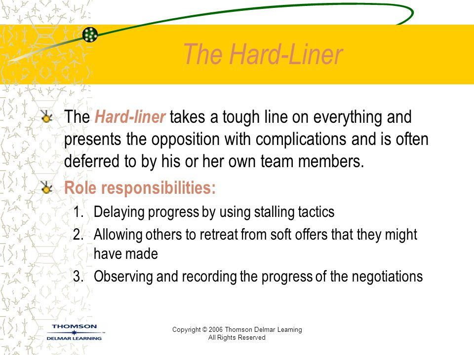 Copyright © 2006 Thomson Delmar Learning All Rights Reserved The Hard-Liner The Hard-liner takes a tough line on everything and presents the oppositio