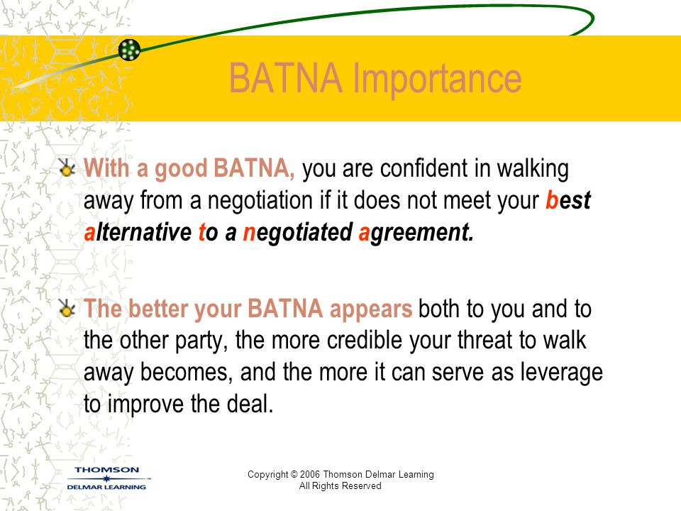 Copyright © 2006 Thomson Delmar Learning All Rights Reserved BATNA Importance With a good BATNA, you are confident in walking away from a negotiation