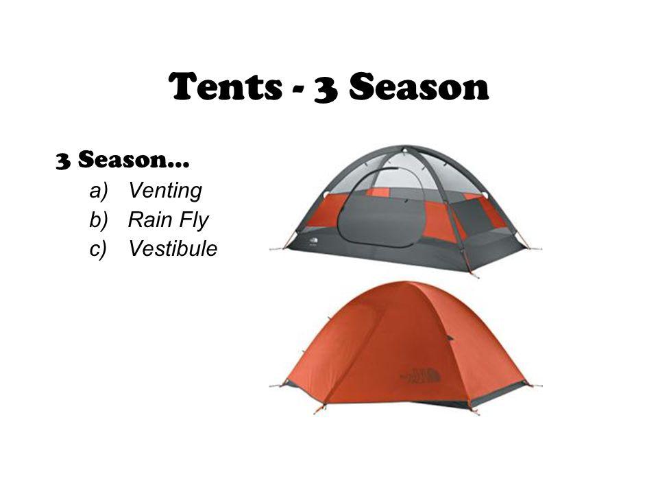 3 Season… a)Venting b)Rain Fly c)Vestibule Tents - 3 Season