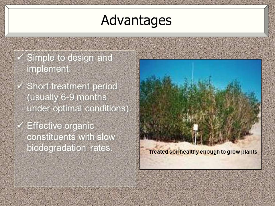 Advantages Simple to design and implement. Short treatment period (usually 6-9 months under optimal conditions). Effective organic constituents with s