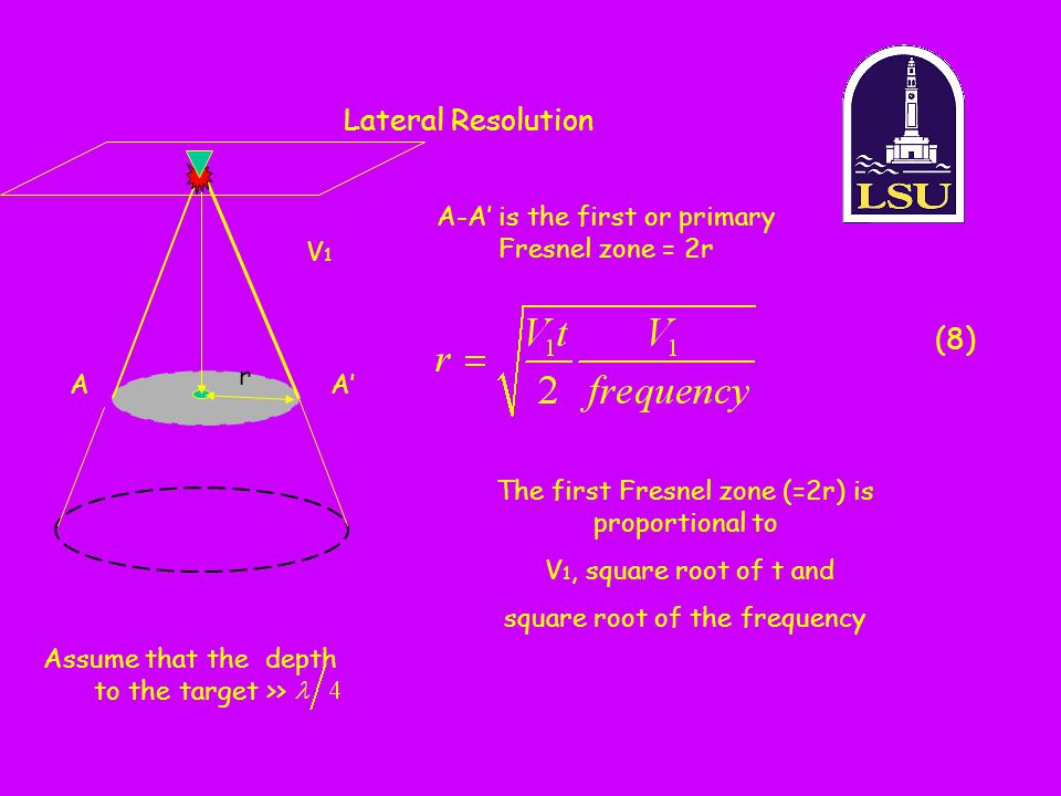 Lateral Resolution AA' r A-A' is the first or primary Fresnel zone = 2r Assume that the depth to the target >> The first Fresnel zone (=2r) is proport