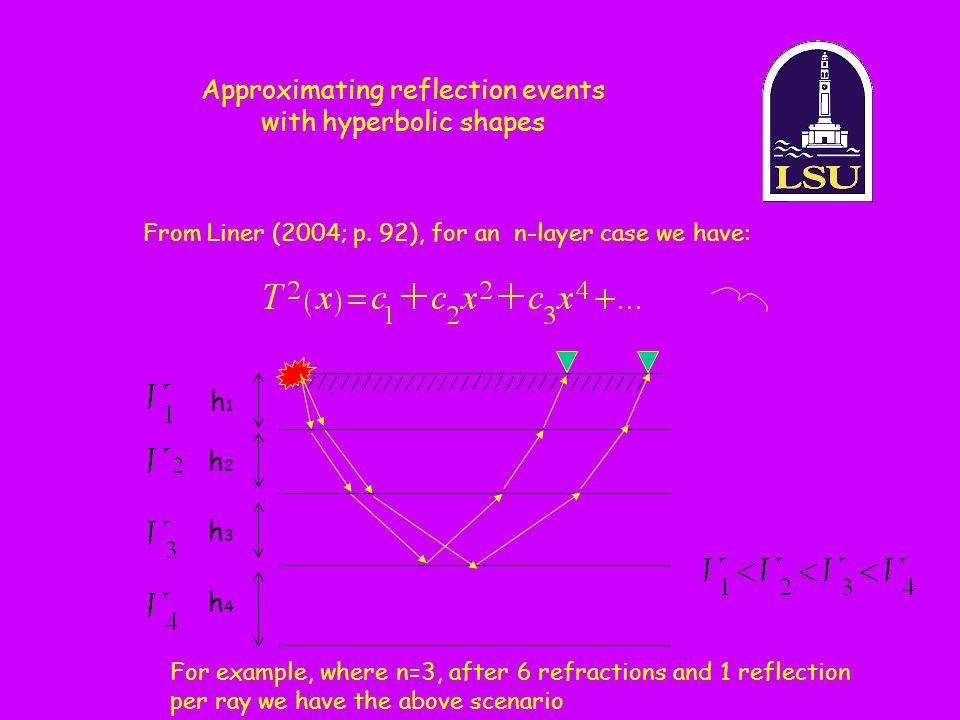 Approximating reflection events with hyperbolic shapes From Liner (2004; p. 92), for an n-layer case we have: For example, where n=3, after 6 refracti