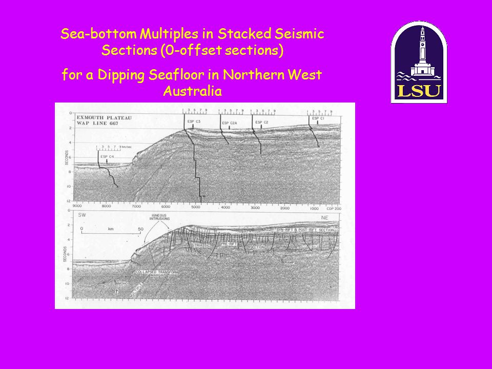 Sea-bottom Multiples in Stacked Seismic Sections (0-offset sections) for a Dipping Seafloor in Northern West Australia