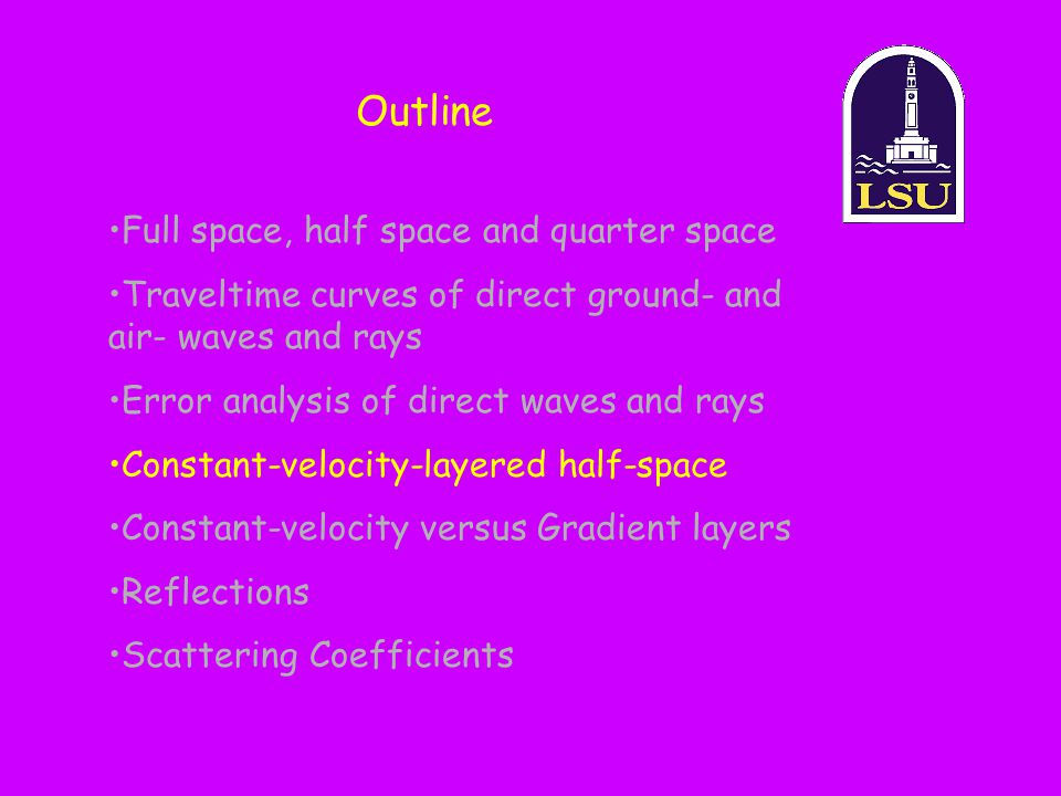 Outline Full space, half space and quarter space Traveltime curves of direct ground- and air- waves and rays Error analysis of direct waves and rays C