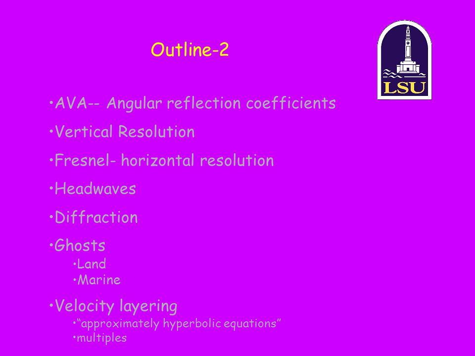 One-layer Refracted Head Wave x z V1V1 V2V2 V 2 > V 1 Critical distance=X c r1r1 r1r1 r3r3 r2r2 Xc =.