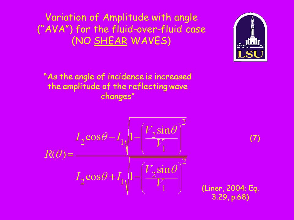 """As the angle of incidence is increased the amplitude of the reflecting wave changes"" Variation of Amplitude with angle (""AVA"") for the fluid-over-flu"