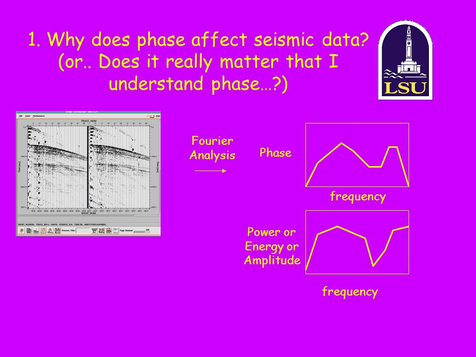 1. Why does phase affect seismic data? (or.. Does it really matter that I understand phase…?) Fourier Analysis frequency Power or Energy or Amplitude