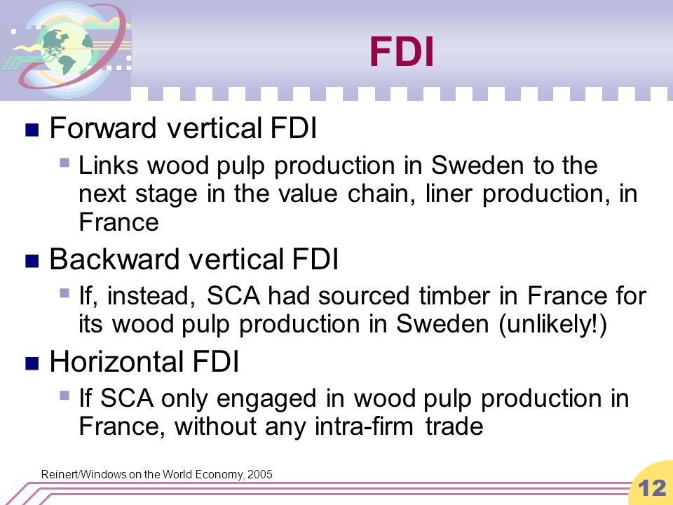 Reinert/Windows on the World Economy, 2005 12 FDI Forward vertical FDI  Links wood pulp production in Sweden to the next stage in the value chain, liner production, in France Backward vertical FDI  If, instead, SCA had sourced timber in France for its wood pulp production in Sweden (unlikely!) Horizontal FDI  If SCA only engaged in wood pulp production in France, without any intra-firm trade