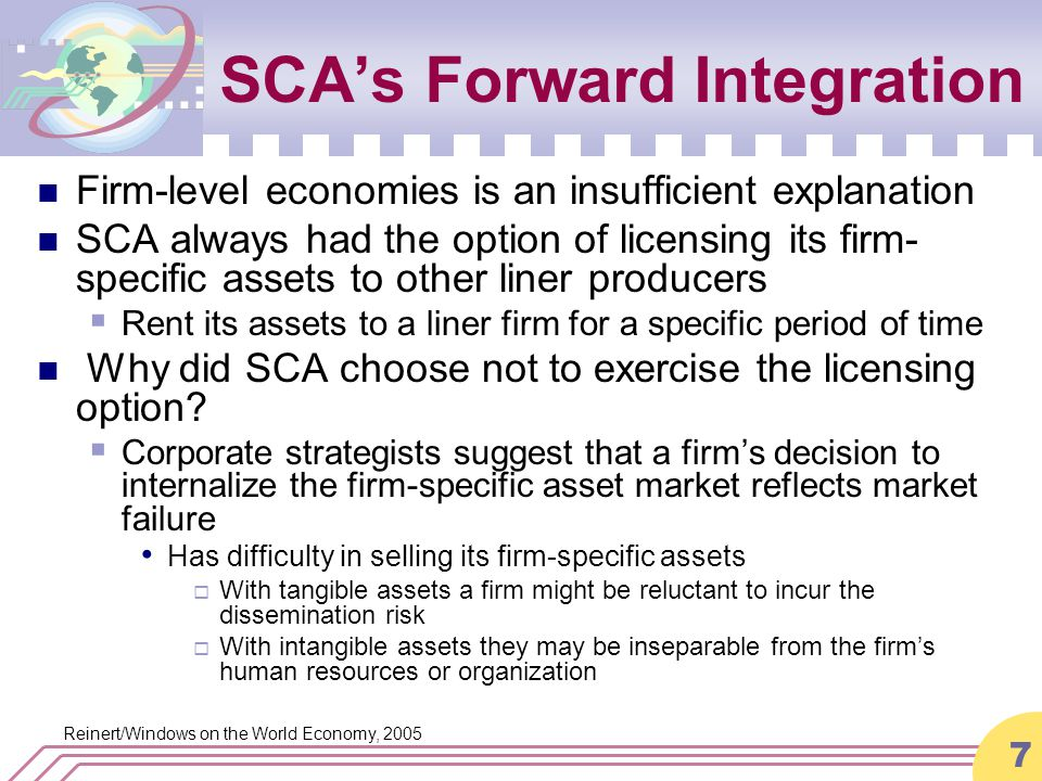 Reinert/Windows on the World Economy, 2005 7 SCA's Forward Integration Firm-level economies is an insufficient explanation SCA always had the option of licensing its firm- specific assets to other liner producers  Rent its assets to a liner firm for a specific period of time Why did SCA choose not to exercise the licensing option.