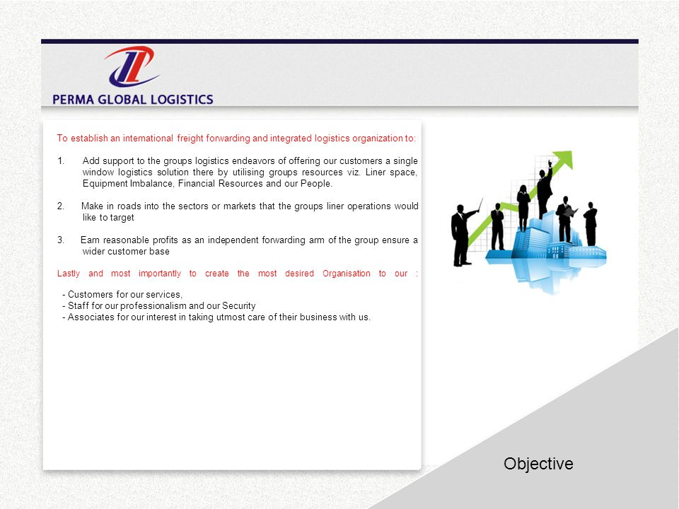 Objective To establish an international freight forwarding and integrated logistics organization to: 1.Add support to the groups logistics endeavors o