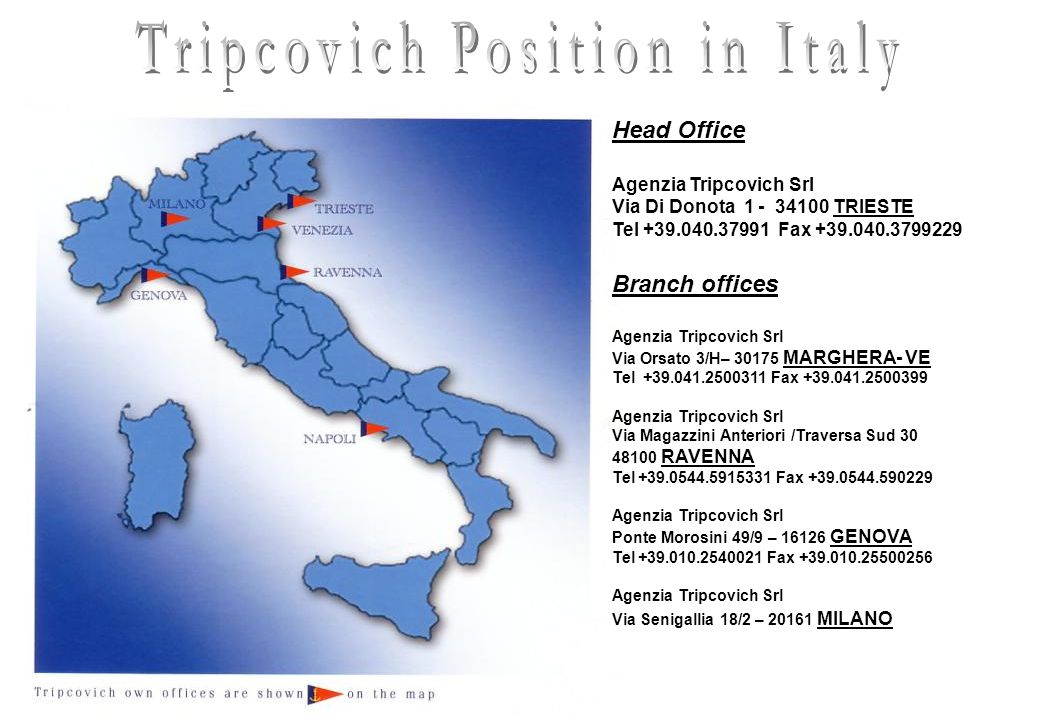 Tripcovich is active in following fields of the shipping business : Shipping Agent in major Italian Ports Liner agency (Project cargo and dry cargo ) Heavy Lift cargo Chartering (Dry cargo / Project / Heavy Lift ) Brokerage (Dry cargo / Project / Heavy Lift ) Container agency Contaires tracking and report Container logistics transport Trump agency Claims