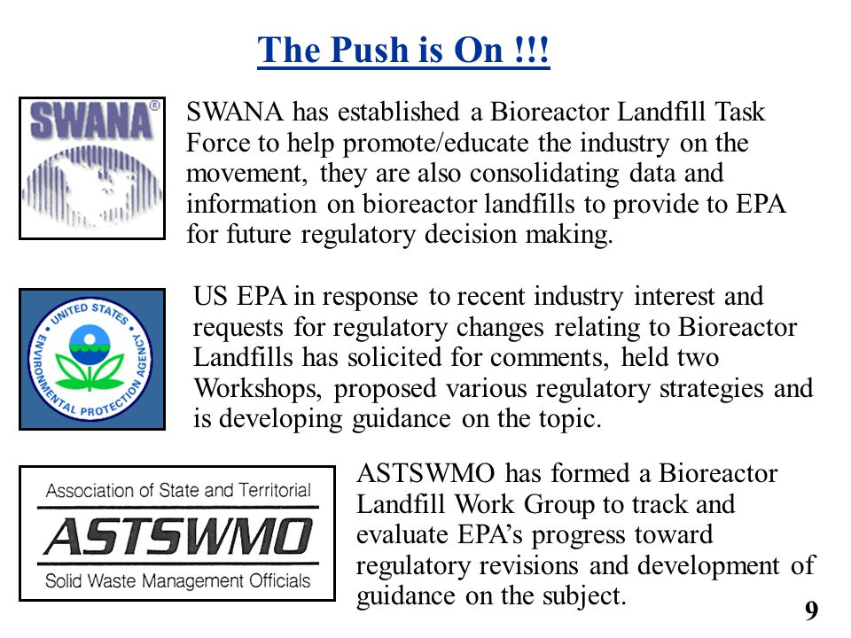 Regulatory Perspective on Landfill Bioreactors (What the Federal Regs say today) 40 CFR Part 258.28(a)(2) Liner requirement (restriction) Only allows leachate recirculation if landfill is lined with a standard, single composite liner system, as described in Section 40 CFR Part 258.40(a)(2).