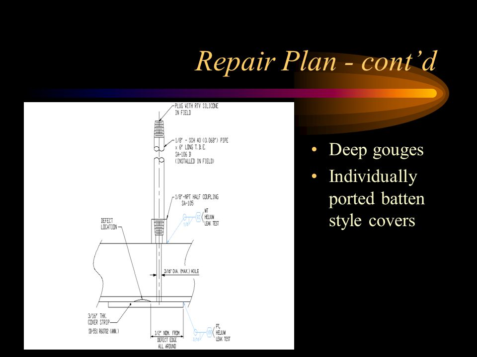 Repair Plan - cont'd Deep gouges Individually ported batten style covers