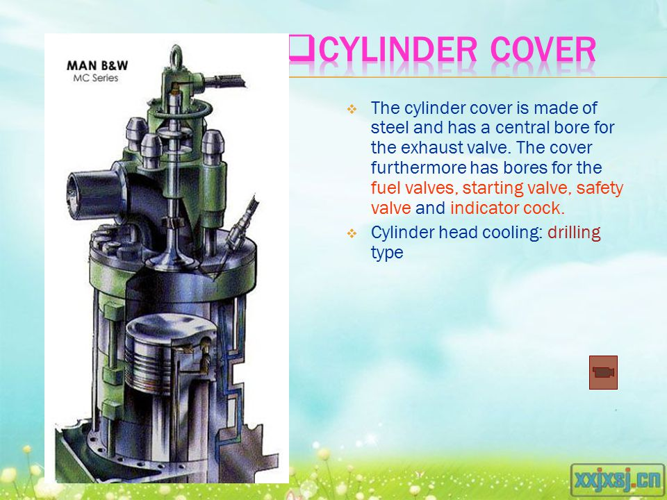  The cylinder cover is made of steel and has a central bore for the exhaust valve.