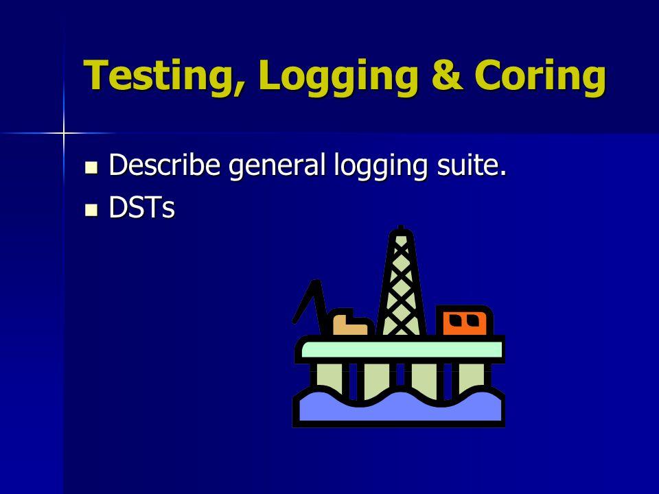 Testing, Logging & Coring Describe general logging suite. Describe general logging suite. DSTs DSTs