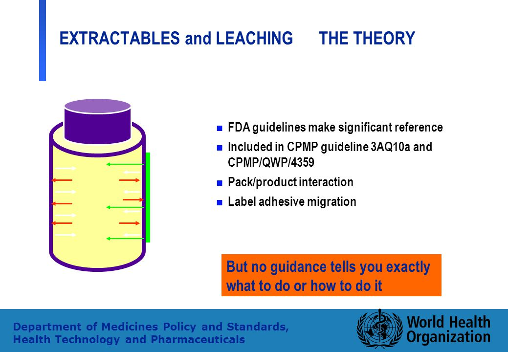 29 Department of Medicines Policy and Standards, Health Technology and Pharmaceuticals EXTRACTABLES and LEACHING THE THEORY n n FDA guidelines make si