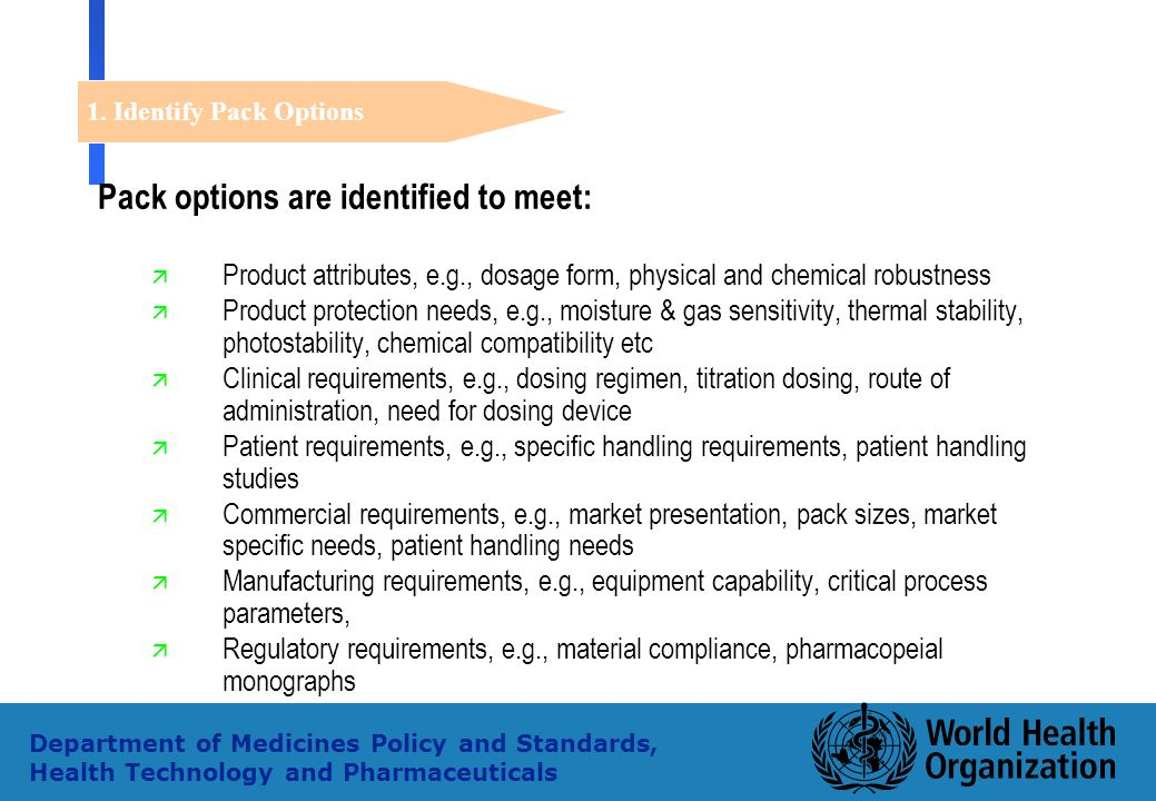 34 Department of Medicines Policy and Standards, Health Technology and Pharmaceuticals Pack options are identified to meet: ä Product attributes, e.g.