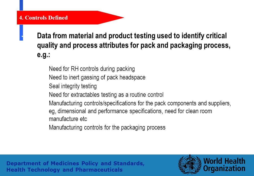 37 Department of Medicines Policy and Standards, Health Technology and Pharmaceuticals Data from material and product testing used to identify critica