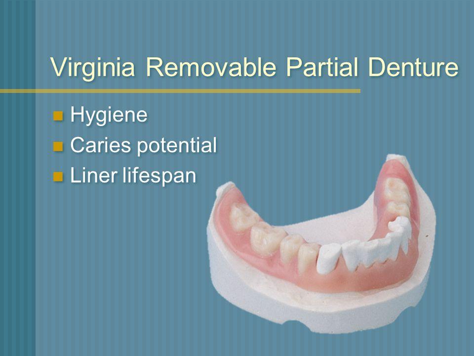 Virginia Removable Partial Denture Hygiene Caries potential Liner lifespan Hygiene Caries potential Liner lifespan